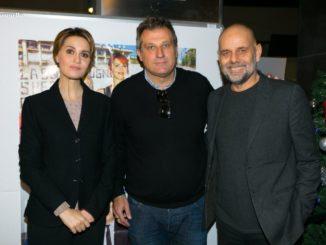 come un gatto in tangenziale. Paola Cortellesi e il regista Riccardo Milani insieme a Nicola Grispello (Ph Marco Sommella)