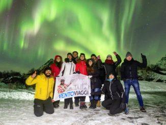 Andrea Vento con un gruppo di viaggiatori in Norvegia
